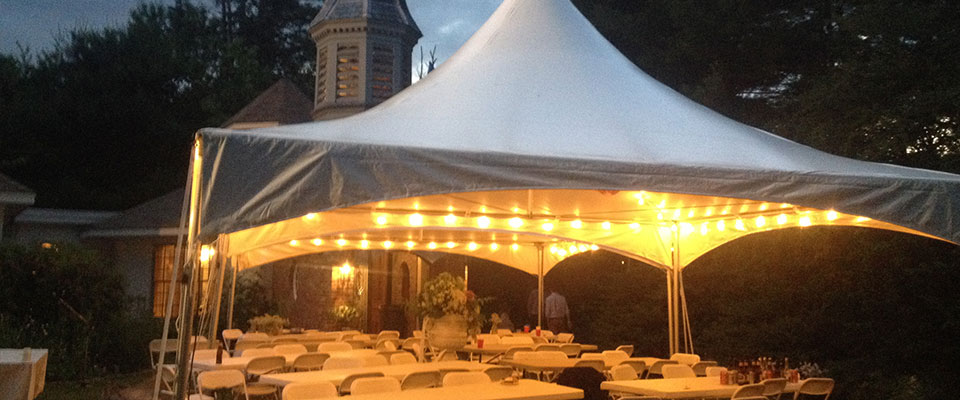 Tent lights at Danvers wedding reception & Tent Party and Complete Event Rentals for Swampscott MA